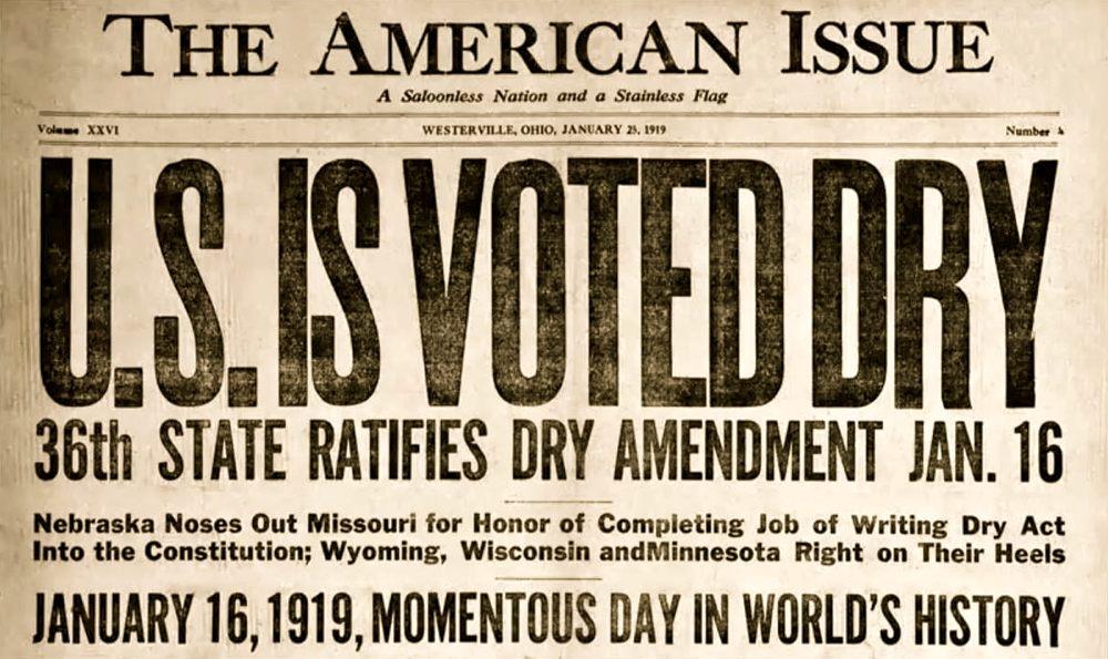 L'annuncio sui giornali dell'approvazione del diciottesimo emendamento