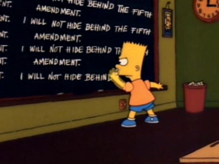 Bart Simpson scrive alla lavagna che non si appellerà più al quinto emendamento