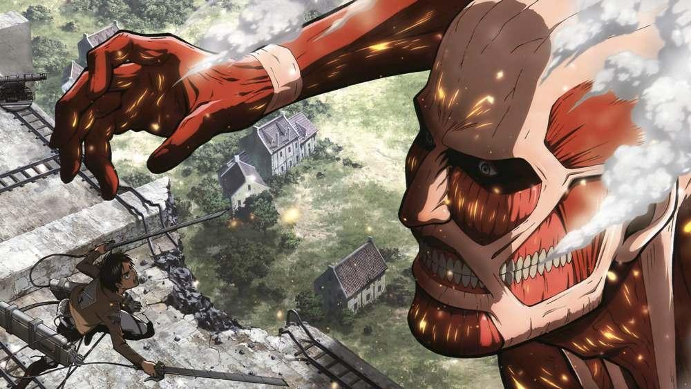 Un combattimento conto un gigante in L'attacco dei giganti