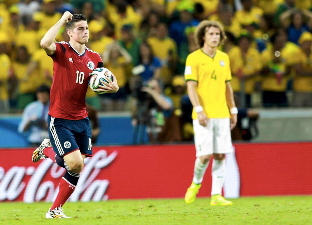 James Rodríguez in gol con la sua Nazionale contro il Brasile ai Mondiali del 2014 (foto di Danilo Borges/copa2014.gov.br)