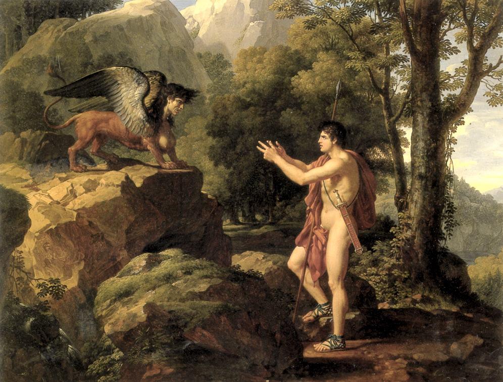 Edipo e la Sfinge, in uno degli indovinelli più famosi della storia