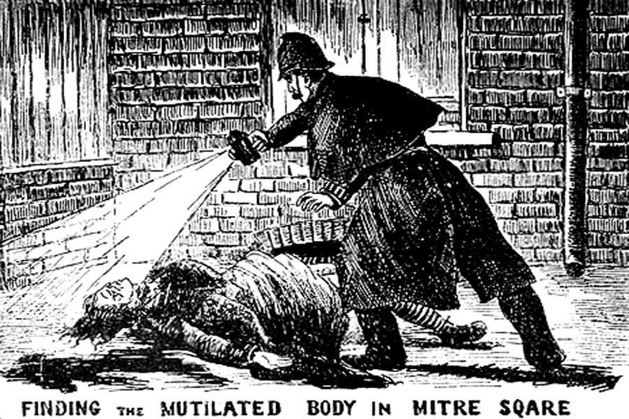 Il ritrovamento di una delle vittime di Jack lo squartatore in un'illustrazione dell'epoca