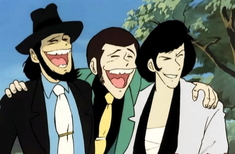Lupin insieme ai suoi compari Jigen e Goemon nella prima serie dedicata al personaggio