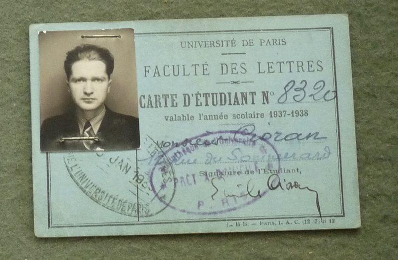 Emil Cioran sul tesserino universitario negli anni '30