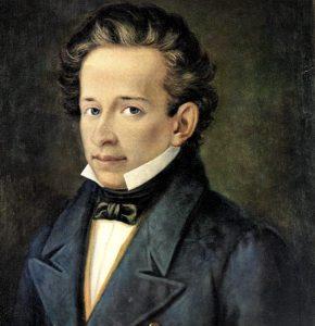 Famoso ritratto di Giacomo Leopardi eseguito a 22 anni d'età, attraverso cui andiamo a studiare A Silvia