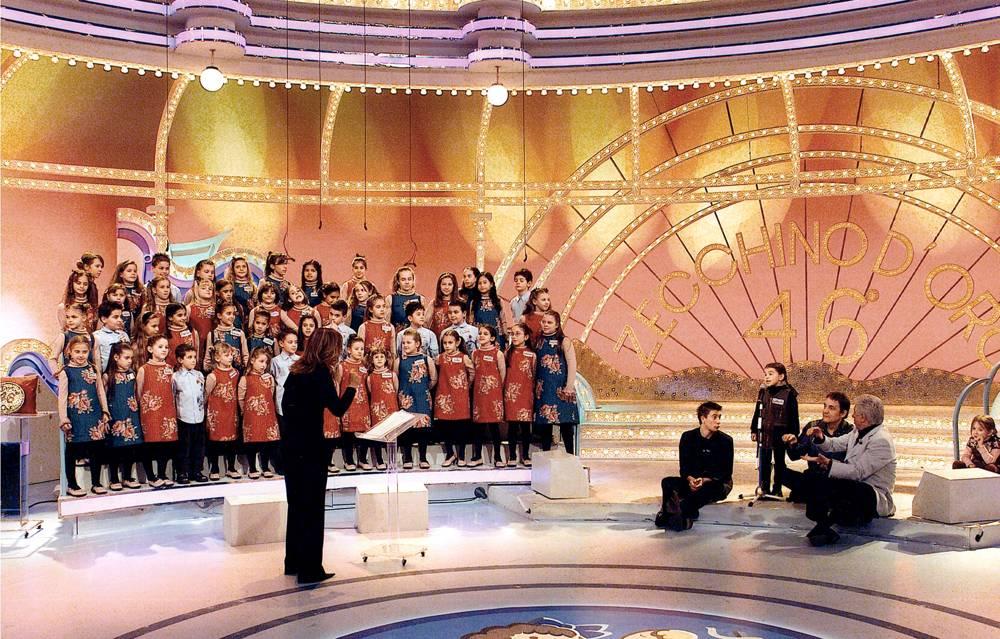 Ottavia Dorrucci durante l'esecuzione di Le tagliatelle di Nonna Pina, una delle canzoni più famose dello Zecchino d'Oro