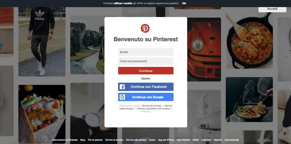 La schermata iniziale quando si entra su Pinterest