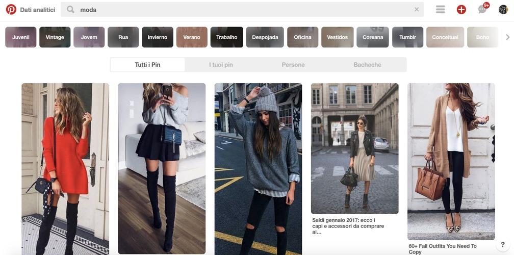 Una ricerca sull'argomento moda effettuata su Pinterest