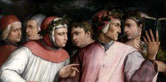 Dante, Boccaccio, Petrarca e altri poeti toscani, autori di alcuni libri classici della nostra storia, ritratti da Giorgio Vasari