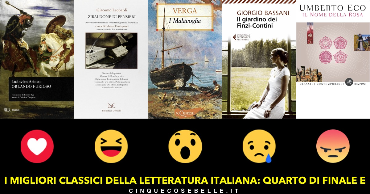 Il gruppo E dei quarti di finale per il miglior libro classico italiano