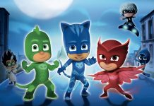 I Super Pigiamini, ovvero i PJ Masks, con i loro nemici alle spalle