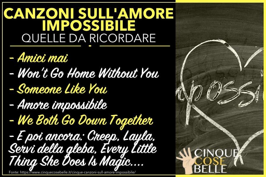 Canzoni sull'amore impossibile e non corrisposto