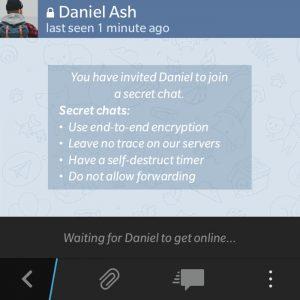 L'inizio di una chat segreta su Telegram