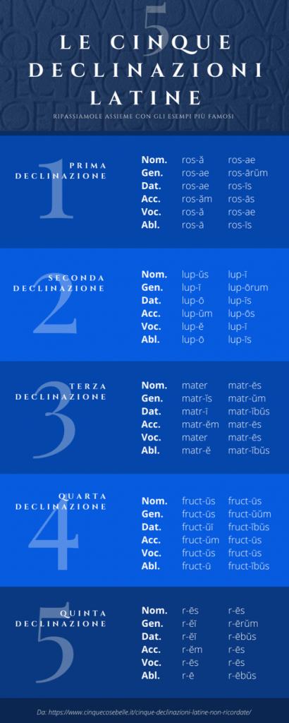 L'infografica con le declinazioni latine