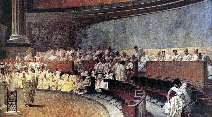 Scopriamo le frasi latine famose tramite il celebre dipinto di Cesare Maccari in cui Cicerone denuncia Catilina conservato oggi al Senato