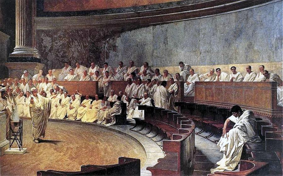 Il celebre dipinto di Cesare Maccari in cui Cicerone denuncia Catilina conservato oggi al Senato