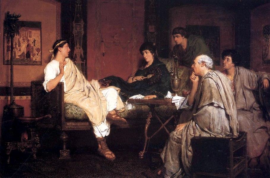 Tibullo a casa di Delia in un dipinto di Lawrence Alma-Tadema