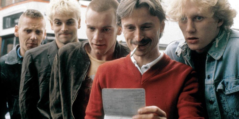 I protagonisti di Trainspotting, tra i quali è possibile riconoscere Jonny Lee Miller, Ewan McGregor e Robert Carlyle