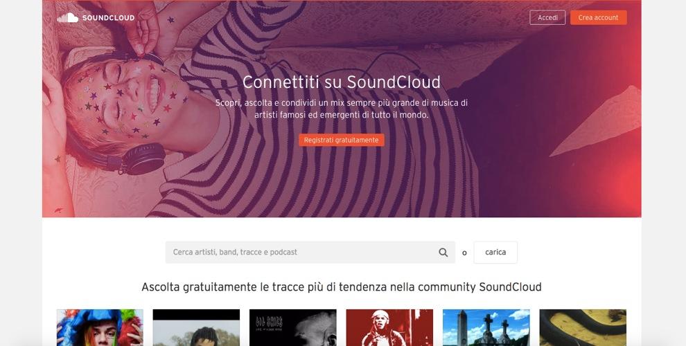 L'home page di SoundCloud