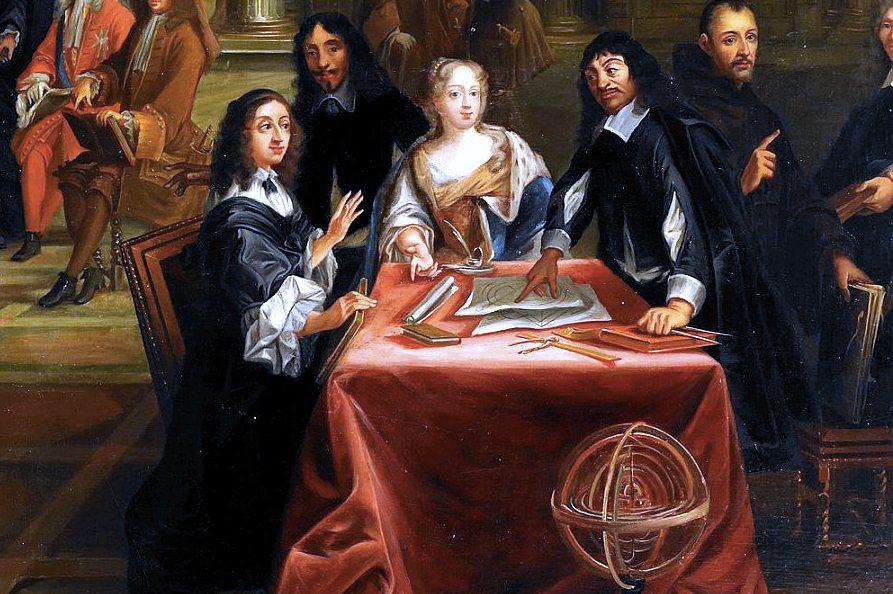 Cristina, all'estrema sinistra, mentre discute con Cartesio, a destra