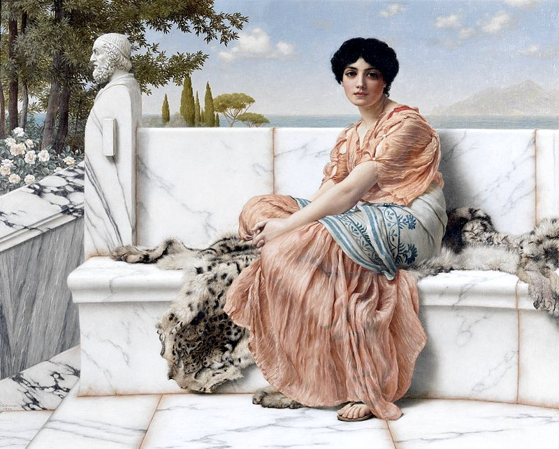 Saffo in un dipinto di inizio Novecento di John William Godward
