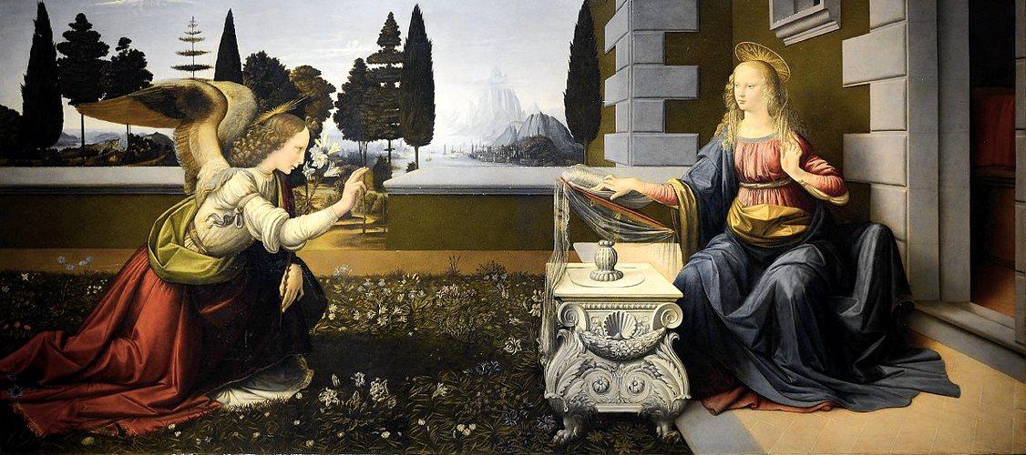 L'Annunciazione di Leonardo da Vinci, una delle opere degli Uffizi più famose