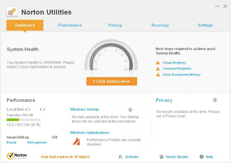 La dashboard di Norton Utilities