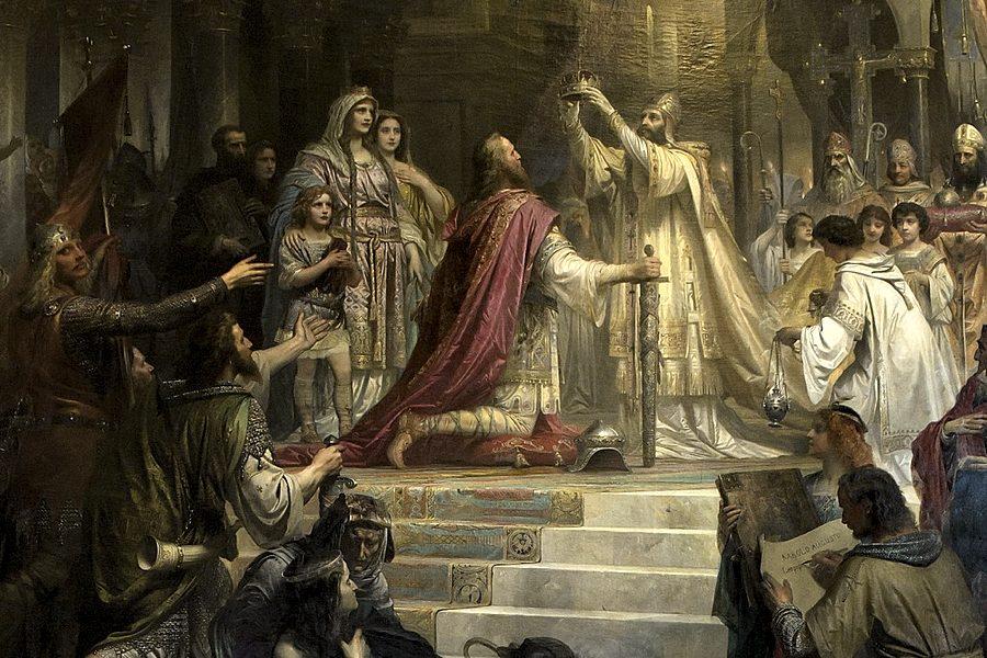 L'incoronazione di Carlo Magno di Friedrich Kaulbach, quadro ottocentesco che celebrava uno degli eroi dell'Alto Medioevo