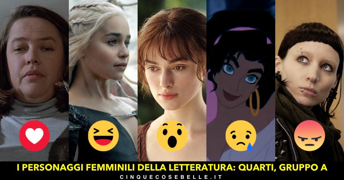 Il primo gruppo dei quarti di finale del sondaggio sui personaggi femminili