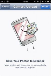 Il caricamento da fotocamera di Dropbox