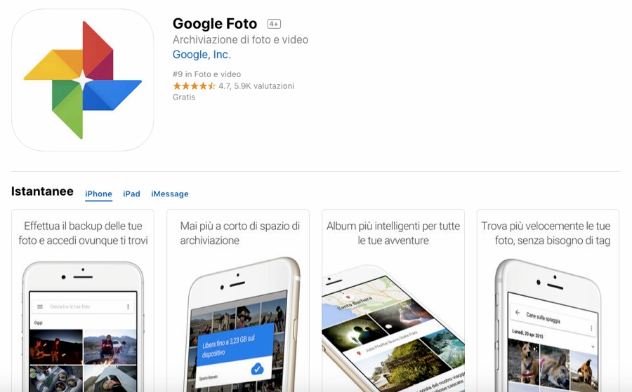 Google Foto per iPhone