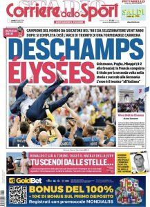 La prima pagina del Corriere dello Sport - Stadio dopo la vittoria della Francia nel Mondiale 2018