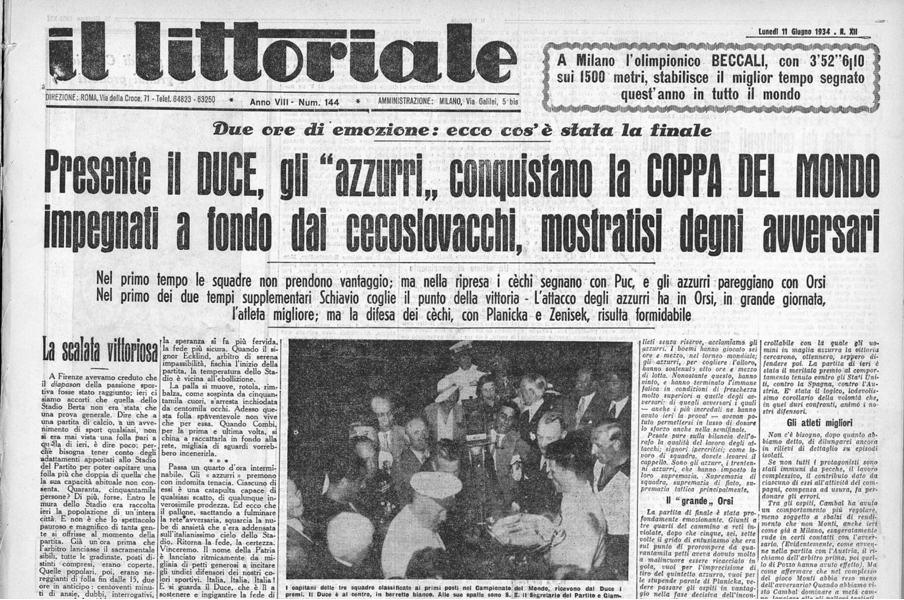La prima pagina del Littoriale che celebrava la vittoria degli azzurri nel Mondiale del 1934