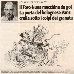 Una vignetta di Carlin su Tuttosport nel 1946
