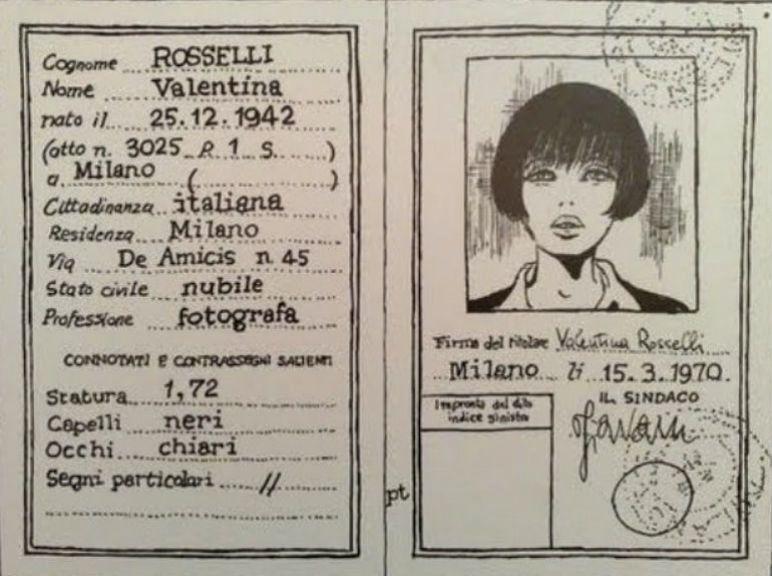 La carta d'identità della Valentina di Crepax