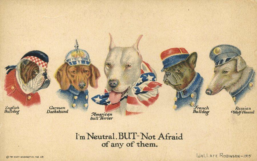 Un manifesto americano della Prima guerra mondiale, prima dell'entrata in guerra degli States, che associava un cane ad ogni paese