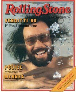 Antonello Venditti sulla copertina di un Rolling Stone del 1980
