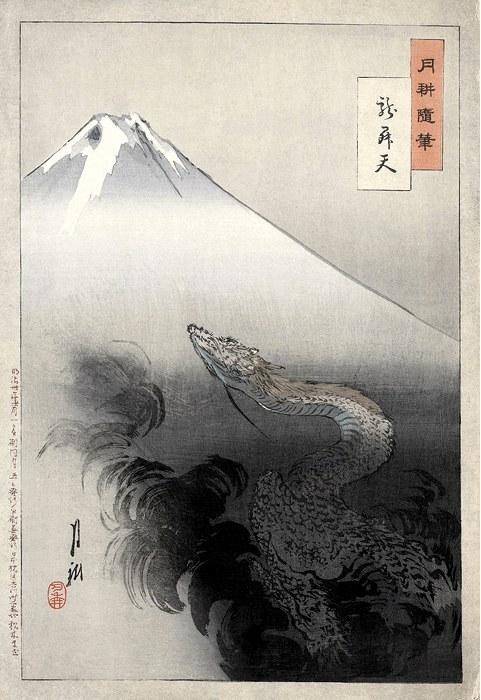 Il drago che sale ai cieli, celebre disegno di Ogata Gekkō del 1897 restaurato da Adam Cuerden