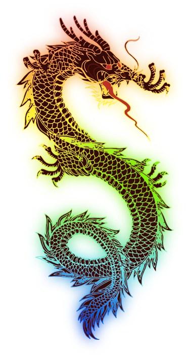Un disegno del tipico drago giapponese