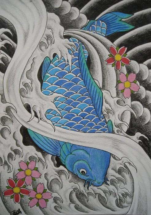 Una carpa koi disegnata in blu, opera di AsatorArise (via DeviantArt)
