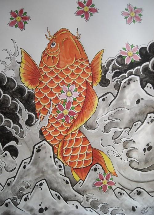 Una carpa koi in arancione, opera di AsatorArise (via DeviantArt)