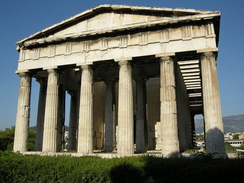 Il tempio di Efesto ad Atene, di ordine dorico (foto di sailko via Wikimedia Commons)