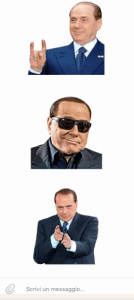Gli sticker con le espressioni di Silvio Berlusconi