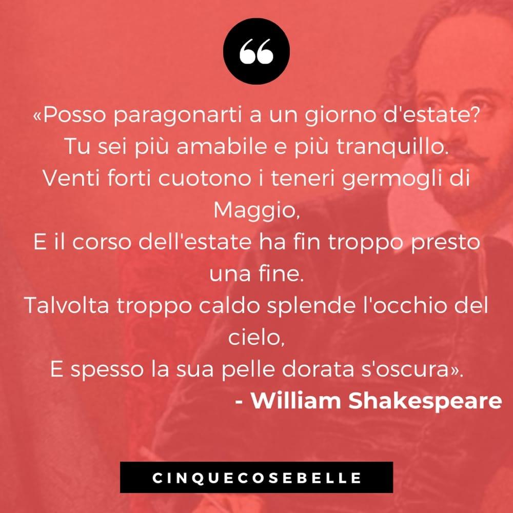Un estratto della poesia di Shakespeare