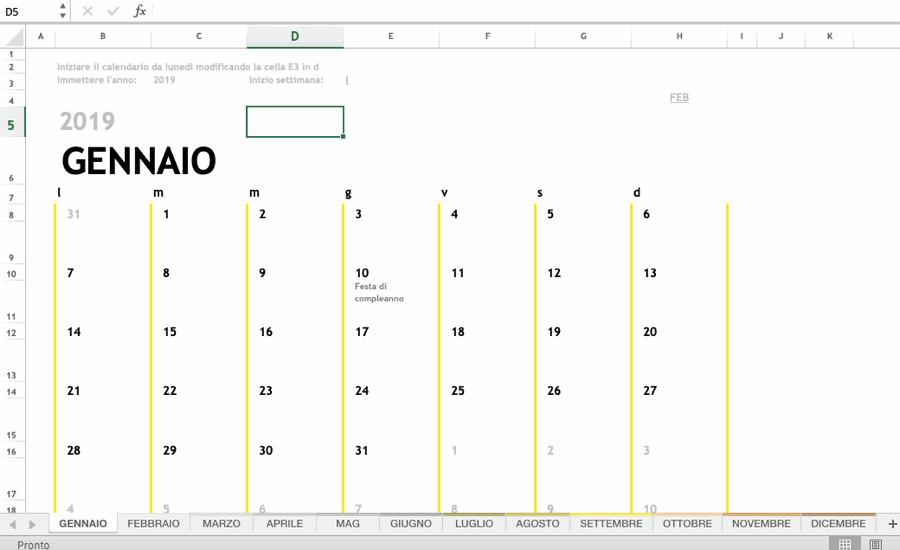 Il calendario base creato da Excel