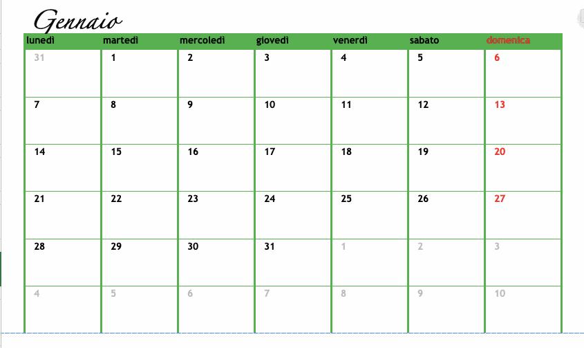 Un esempio di calendario personalizzato