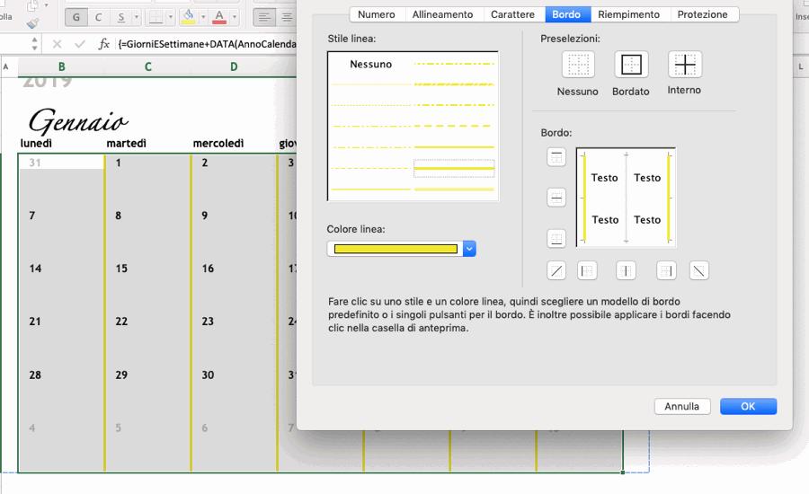 Come personalizzare i bordi del calendario