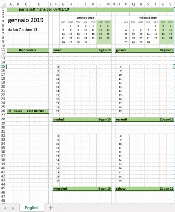Calendario Con Excel.Calendario Settimanale Excel