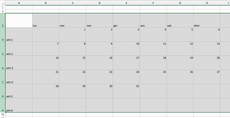 Calendario Dicembre 2019 Excel.Creare Un Calendario Con Excel Pronto Da Stampare Cinque