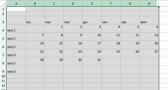 Creare la griglia per il calendario in Excel